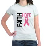Faith Hope Breast Cancer Jr. Ringer T-Shirt