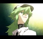 green haired character