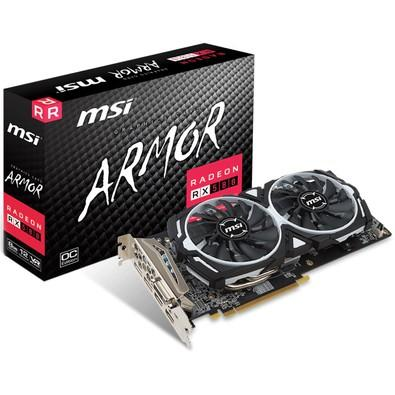 Placa de Vídeo VGA MSI AMD Radeon RX 580 ARMOR OC 8GB, GDDR5, 256 Bits