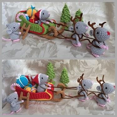 Haakpatroon Kerstmuizen met slee