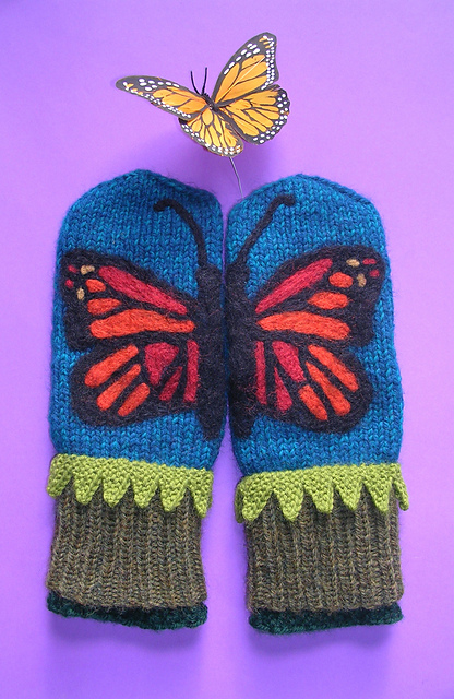 Felted Butterfly Mittens