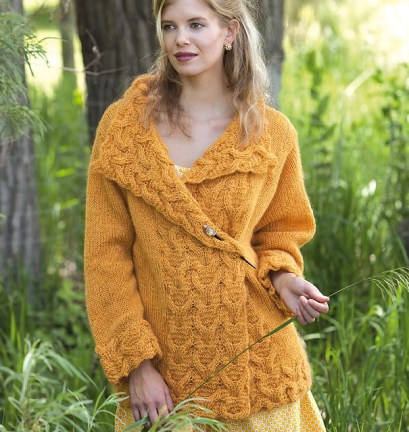 pretty yellow cable-knit sweater