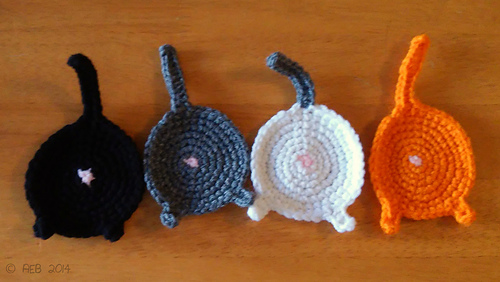 Crocheted Cat Butt Coasters