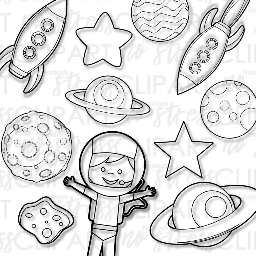 Outer Space Rockets Clip Art