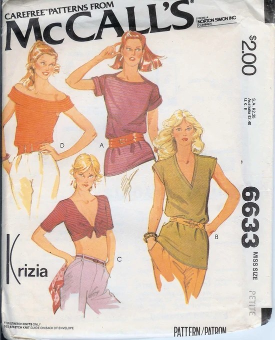 1970s Krizia tops pattern for stretch knits - McCall's 6633 - Carefree pattern