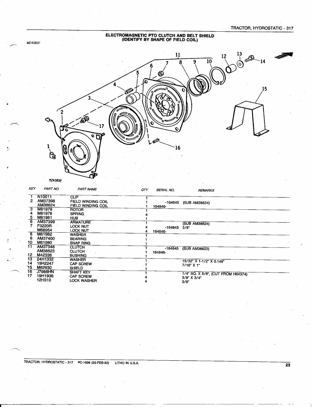 Photo: John Deere 317 Hydrostatic Tractor Parts Catalog