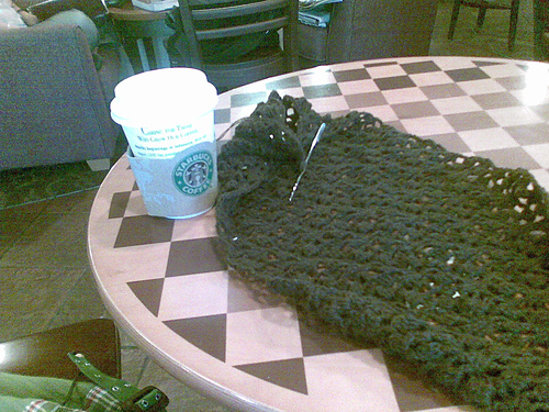 Crocheting over a cup of coffee