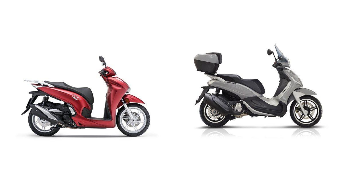 Motorrad Vergleich Honda SH350i 2021 vs. Piaggio Beverly
