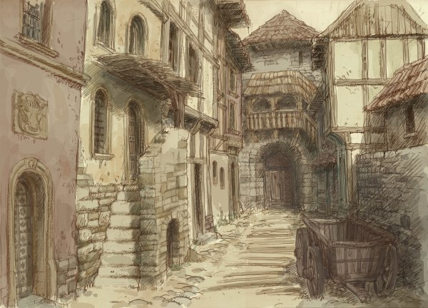 Medieval City Drawing