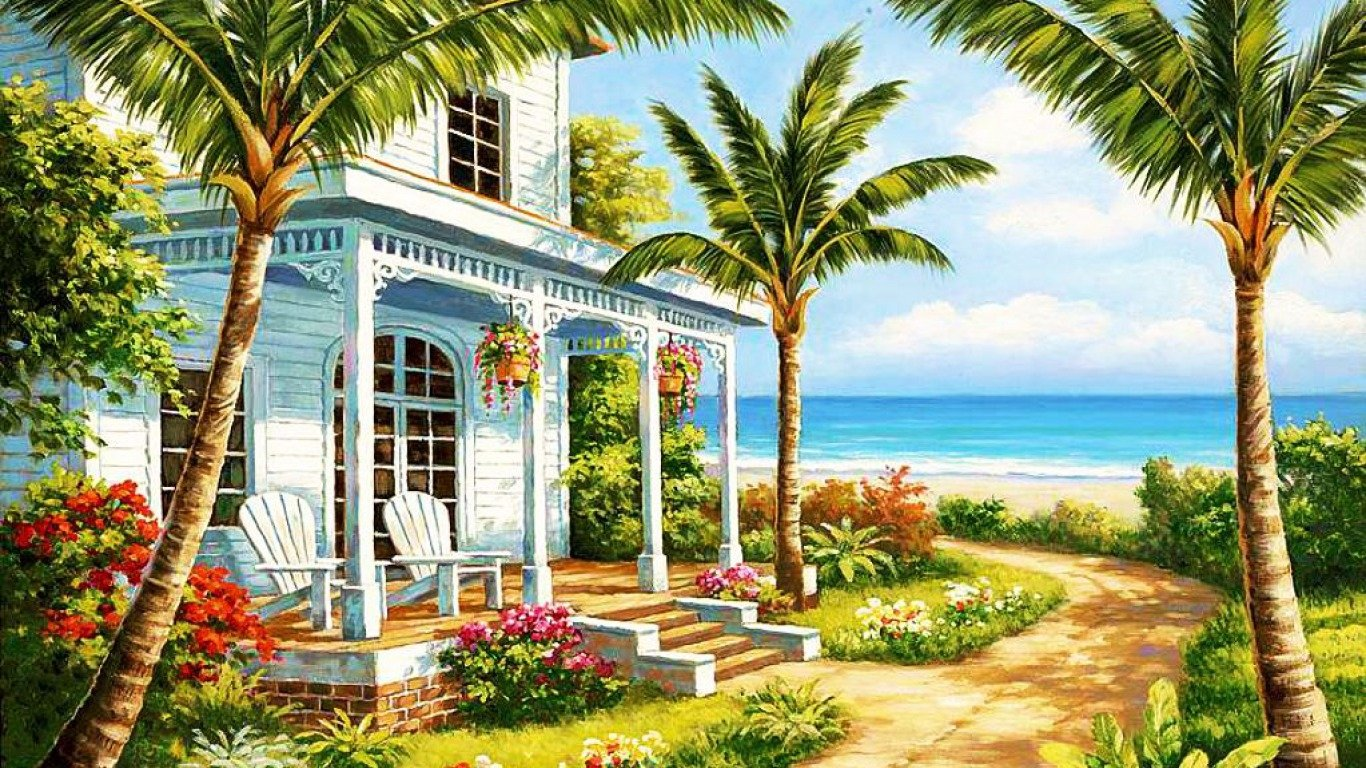 Hd Car Wallpapers Seaside Cottage Wallpaper And Background Image 1366x768