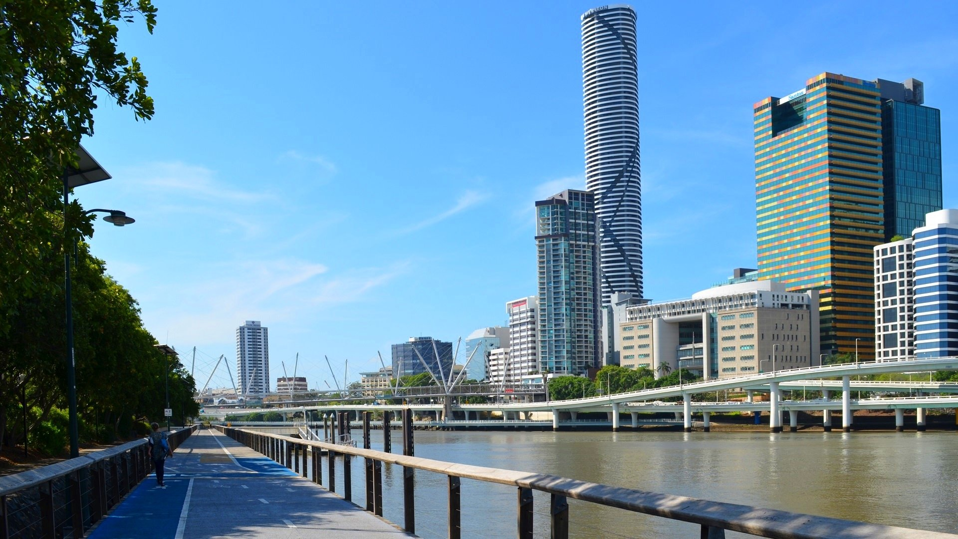 View Of The City From South Bank Parklands Full HD