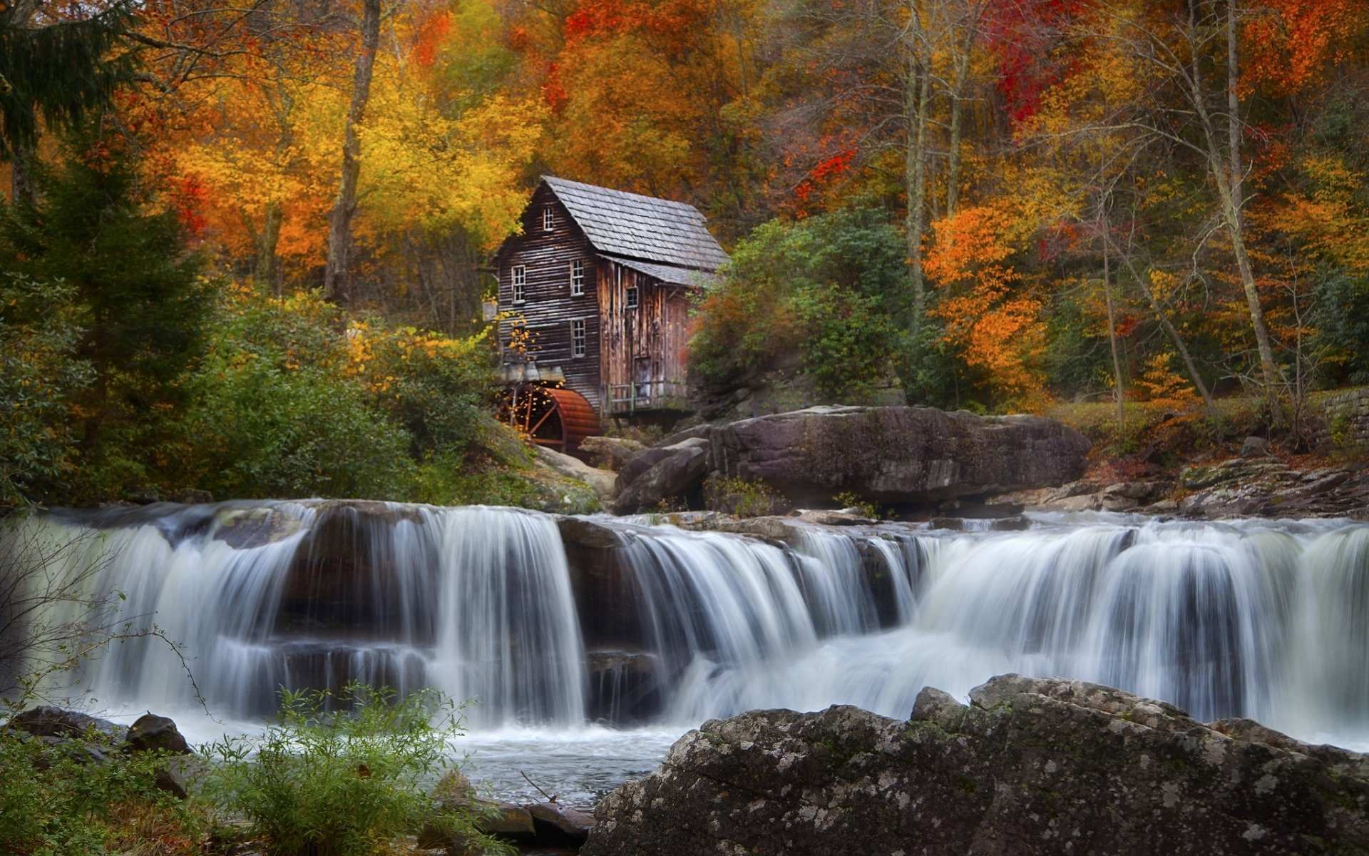 Fall Wallpaper For Laptop Old Mill And Waterfall In Autumn Hd Wallpaper Background