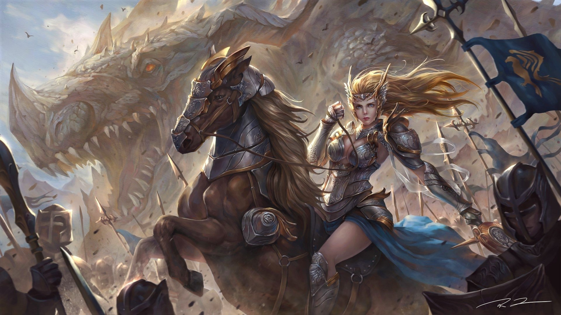 Wolf Girl And Black Prince Wallpaper Hd Fantasy Warrior On Horse Hd Wallpaper Background Image
