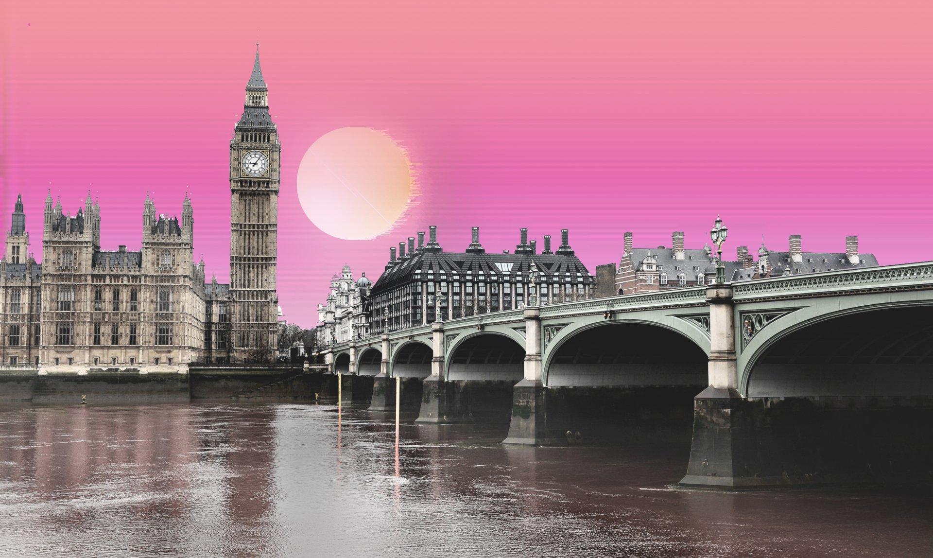 London Wallpaper Hd 1920x1080 Vaporwave The Big Ben Hd Wallpaper Background Image