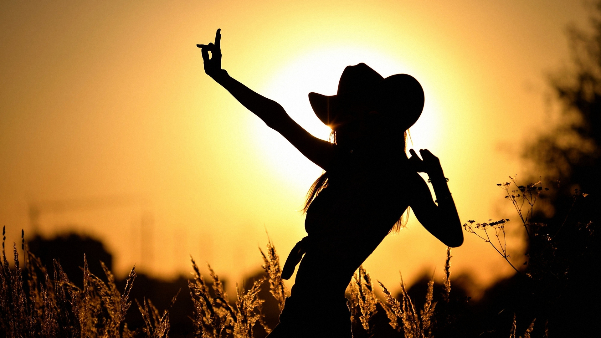 Guitar Girl Silhouete Wallpaper Iphone Cowgirl Hd Wallpaper Background Image 1920x1080 Id