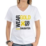 I Wear Gold For Daughter Women's V-Neck T-Shirt