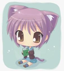 chibi anime nagato fanpop cat cute kawaii characters neko adorable kitty shy cats purple