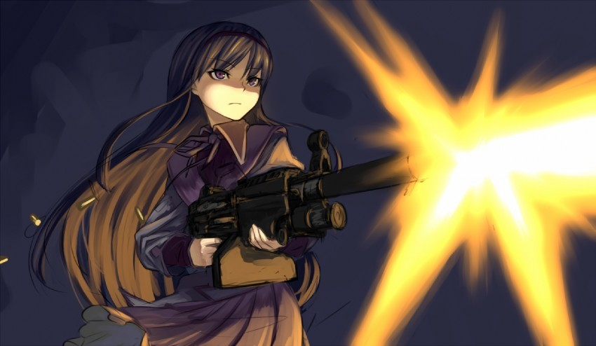 Wallpaper Anime Girl With Gun Which Of Homura S Weapons Is Better Poll Results Homura