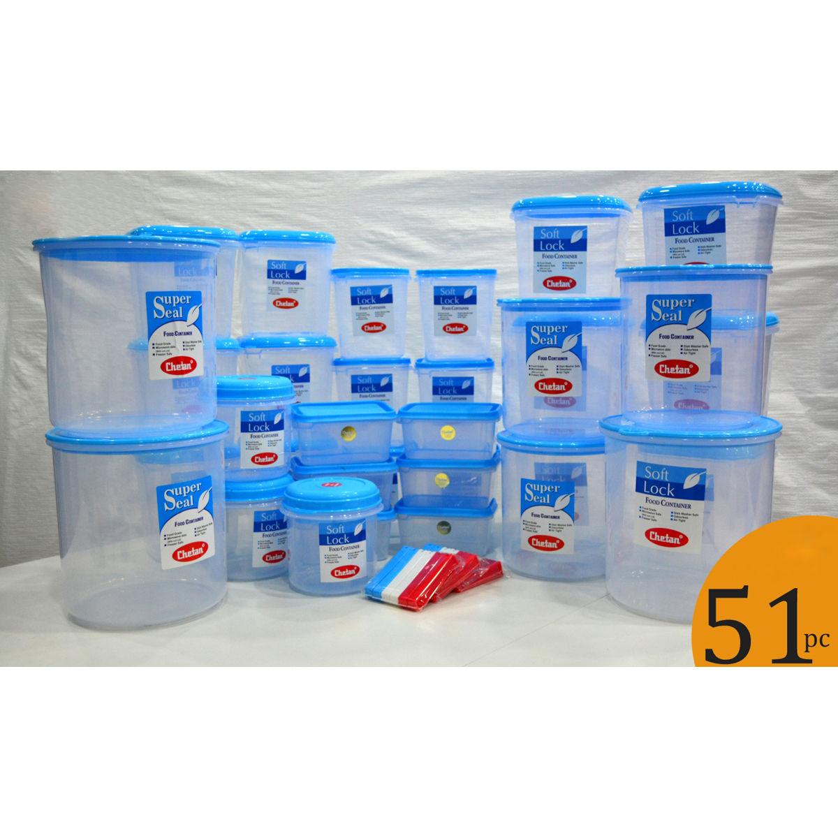 kitchen storage boxes base cabinet depth buy chetan set of 51 pcs plastic airtight