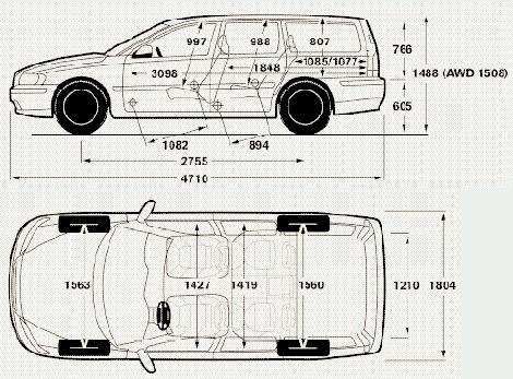 Volvo V70 Wymiary