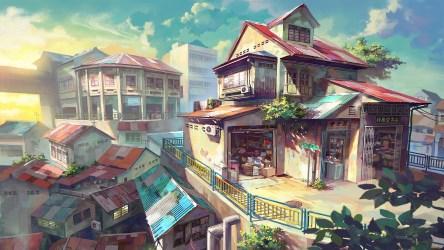 anime scenic scenery hd landscape wallpapers animation houses building chong malaysia deviantart digital giap fei manga corner artwork