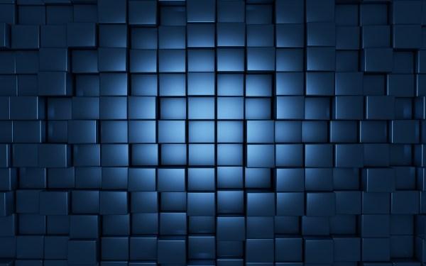Blue Abstract Wallpaper 3D Glass Cubes