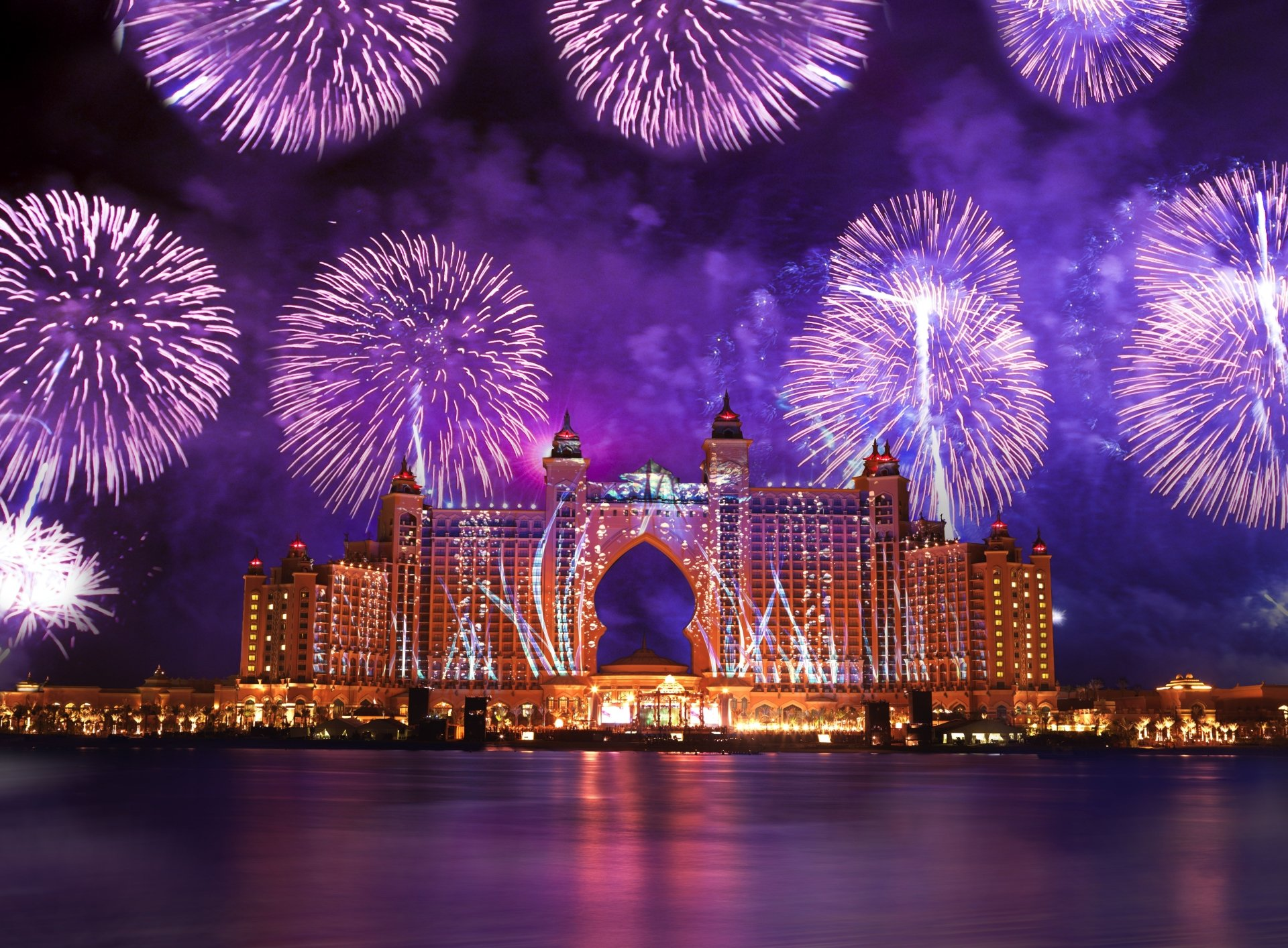 Man Made - Atlantis, The Palm Night Atlantis Hotel Dubai Light Colors Celebration Sea Hotel Fireworks Wallpaper