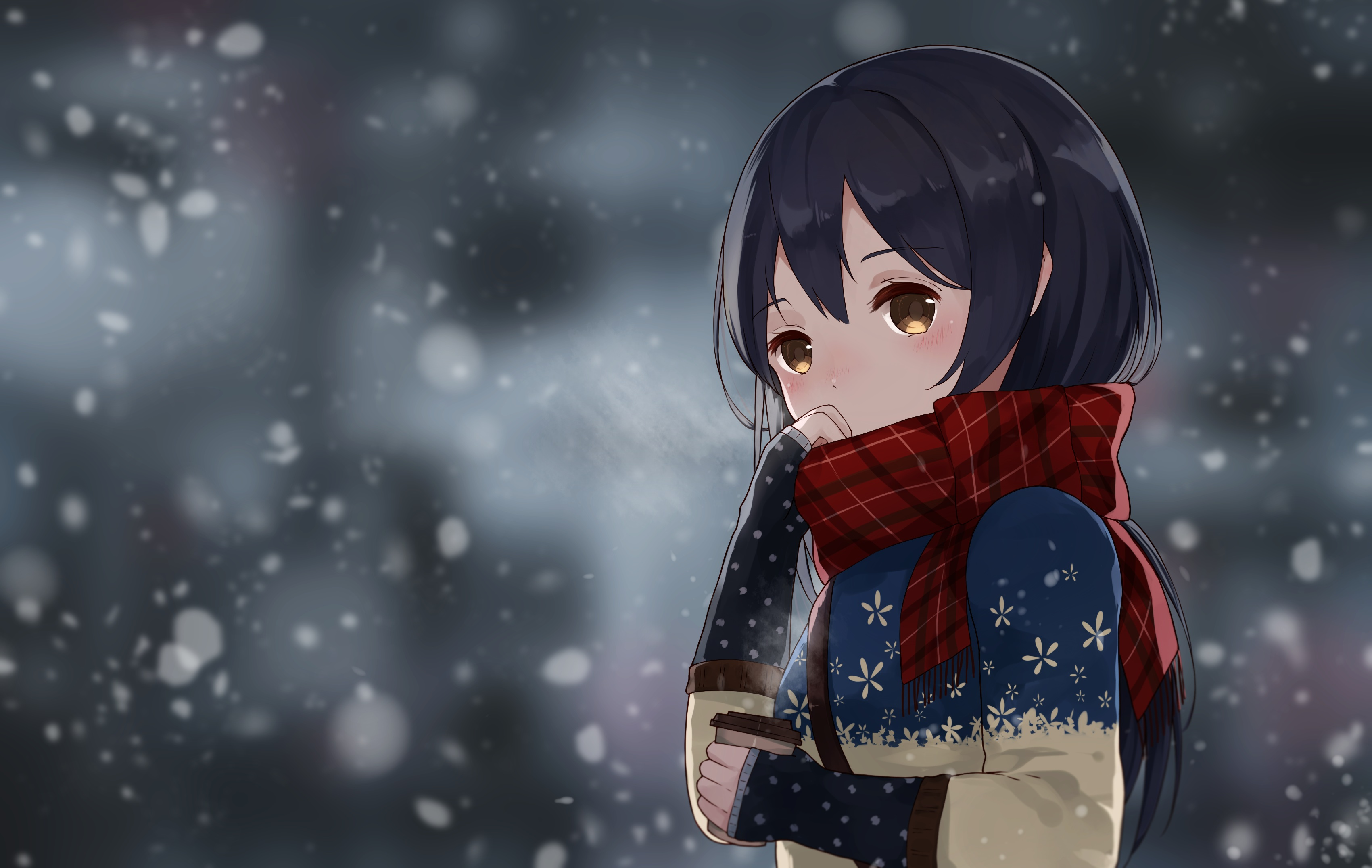 Live Winter Snow Fall Background Wallpaper Umi Sonoda Hd Wallpaper Background Image 3401x2151
