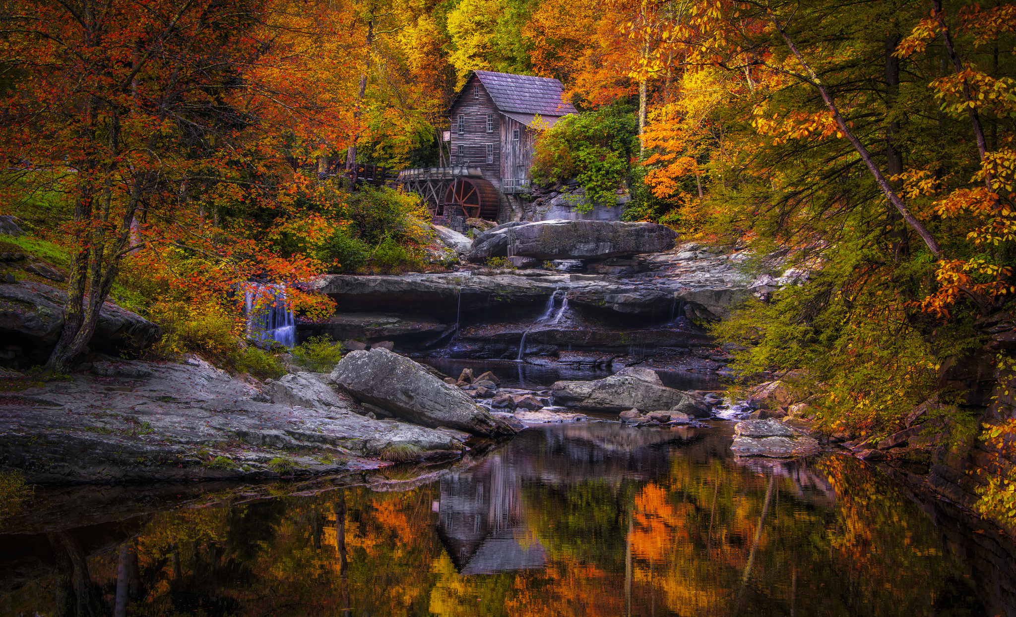 Fall Foliage Wallpaper Widescreen Water Mill In Autumn Hd Wallpaper Background Image
