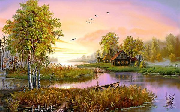 Houses Lake Hd Wallpaper Background