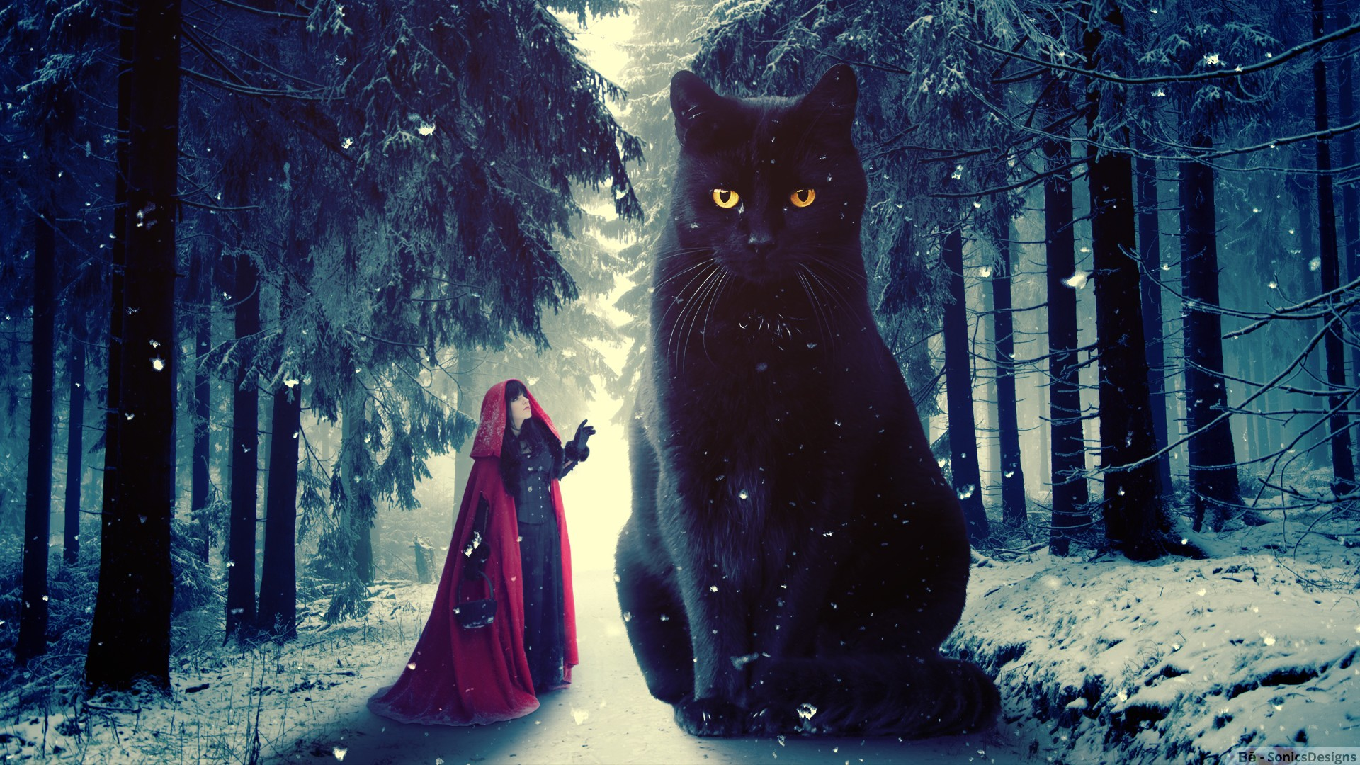 Red Riding Hood And Black Cat HD Wallpaper Background