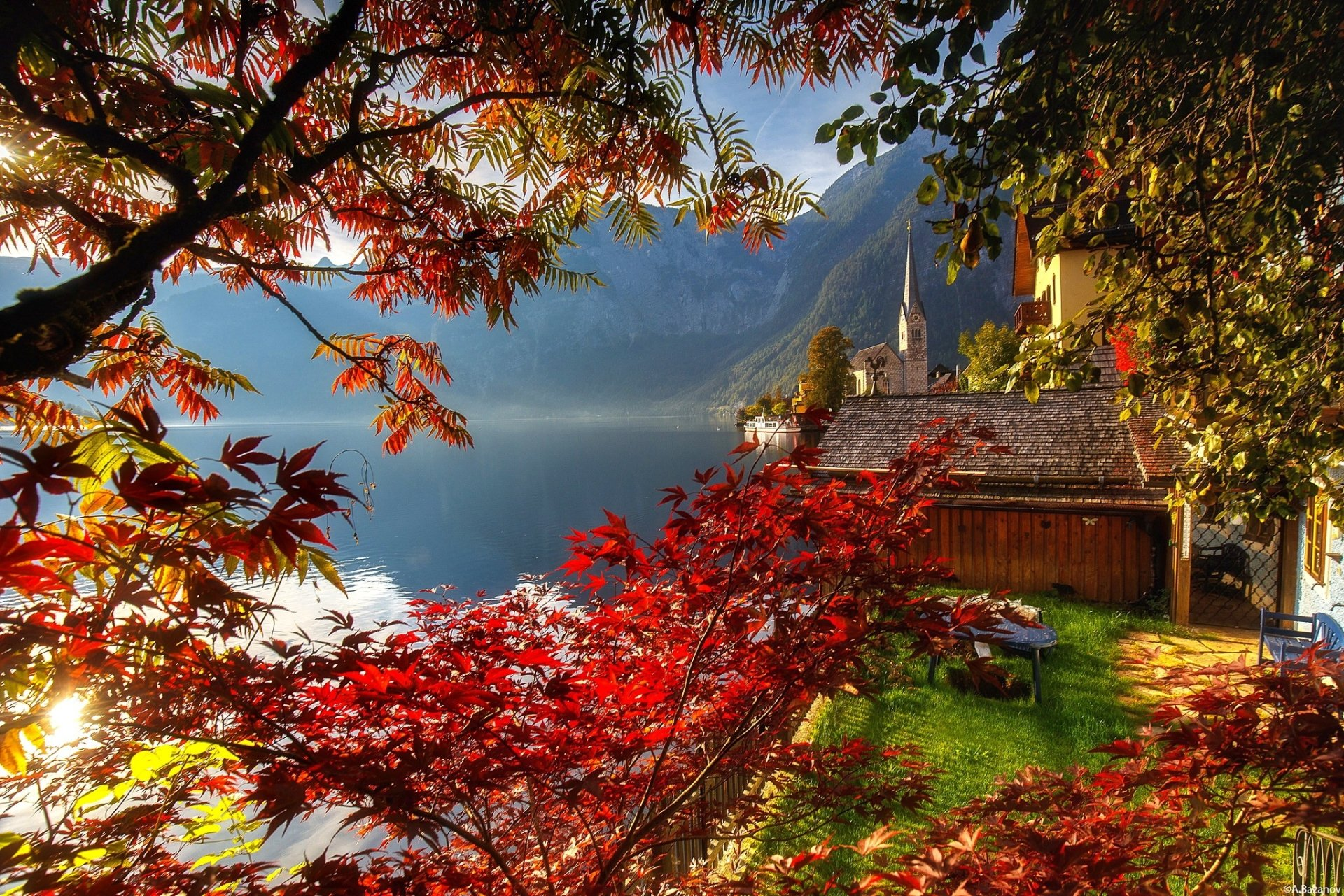 Fall Leaves Desktop Wallpaper Backgrouns Autumn In Hallstatt Austria Hd Wallpaper Background
