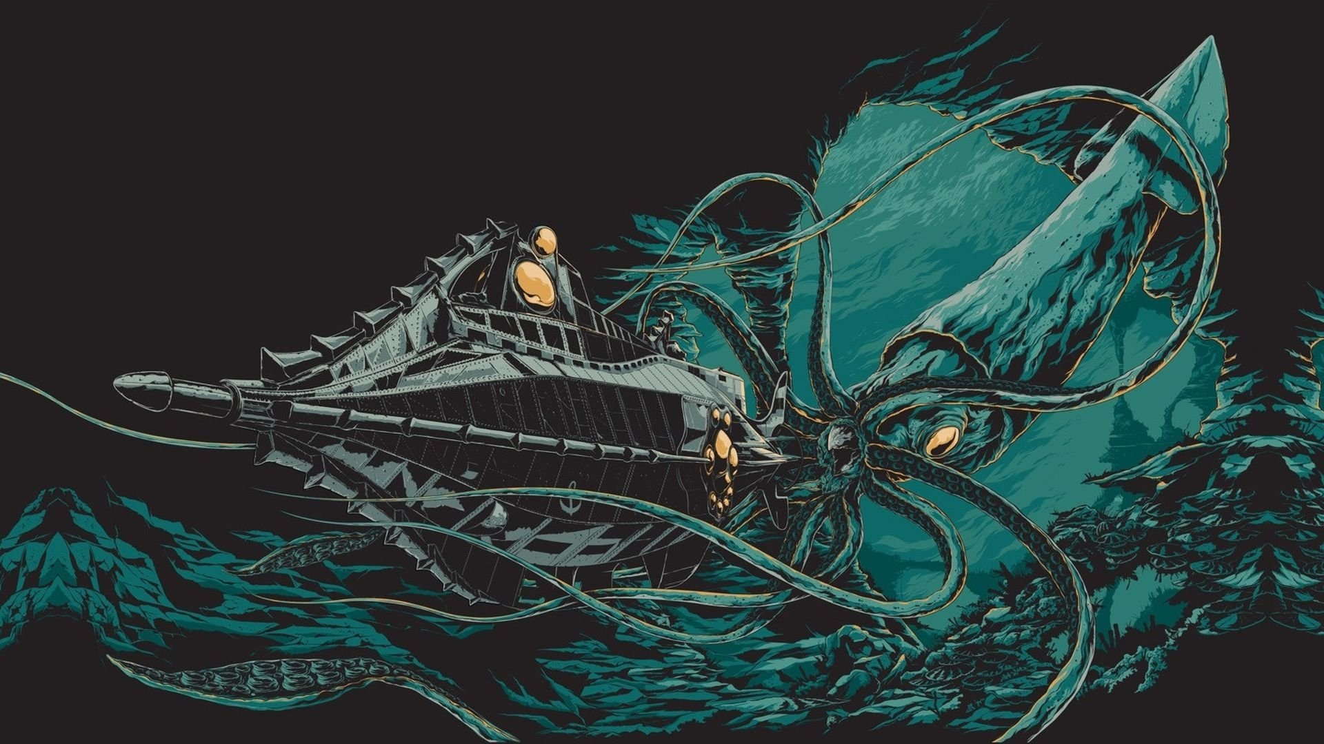 Squid Girl Iphone Wallpaper 20 000 Leagues Under The Sea Hd Wallpaper Background