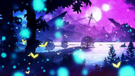 landscape purple nature background hd fantasy lake tree wallpapers preview