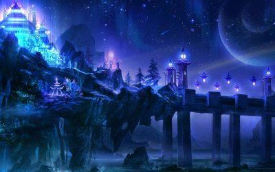 fantasy fanpop magical mystical castle magic space background desktop backgrounds night wallpapers landscape purple castles land landscapes fairies hd scenery