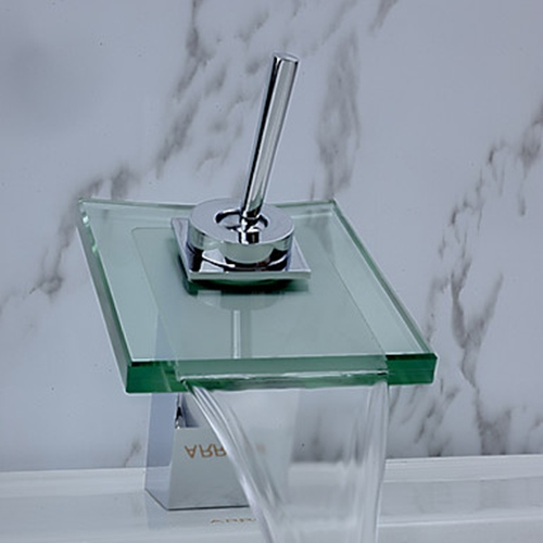 faucets images contemporary waterfall bathroom sink faucet (chrome