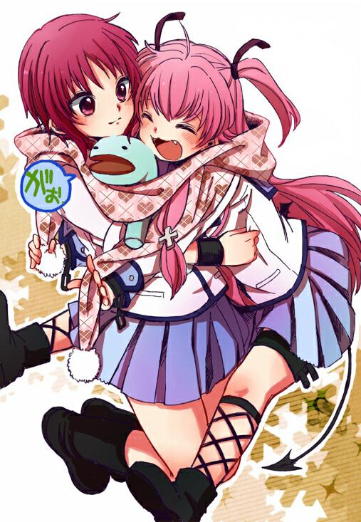 Angry Girl Cartoon Wallpaper Angel Beats Girls Dead Monster Images Yui And Iwasawa