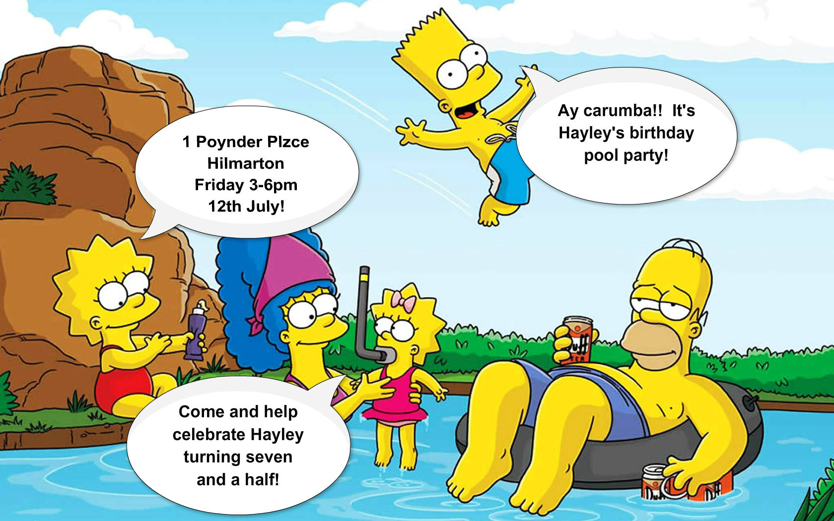 Simpsons Characters Images Pool Party Invite Hd Wallpaper And Background  Photos