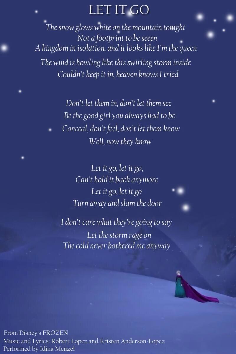 Let it Go Lyrics - Elsa the Snow Queen Photo (35593230) - Fanpop