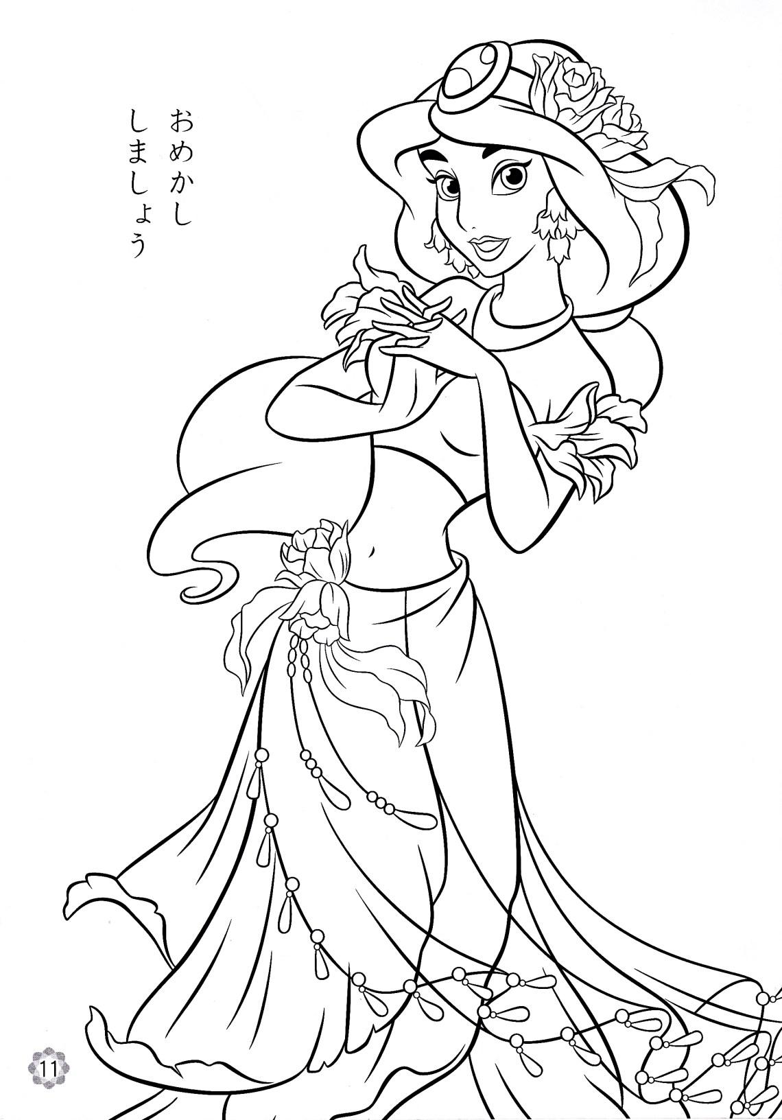 Disney Princess Coloring Pages - Princess Jasmine - Disney ... | disney princess jasmine colouring pages