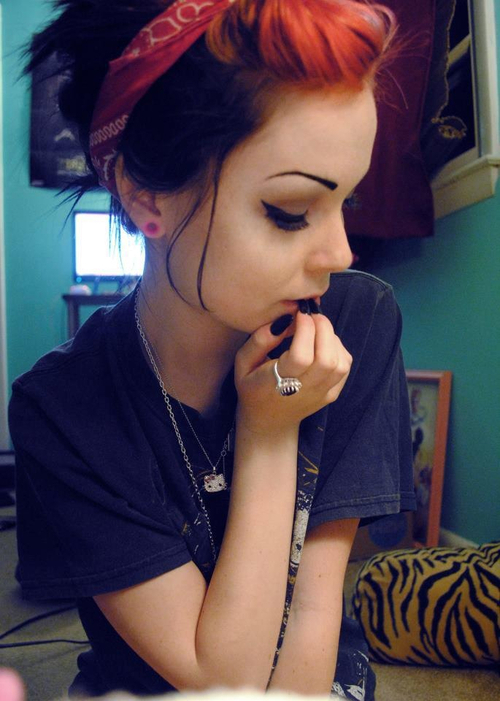 Emo Girl With Bandana Wallpaper Scene And Emo Girls Images Beautiful Red And Black Hair