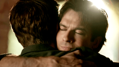 Image result for vampire diaries end hug damon stefan ep 8x16