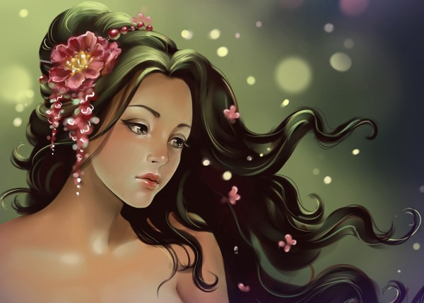 Art Woman with Flowers in Hair