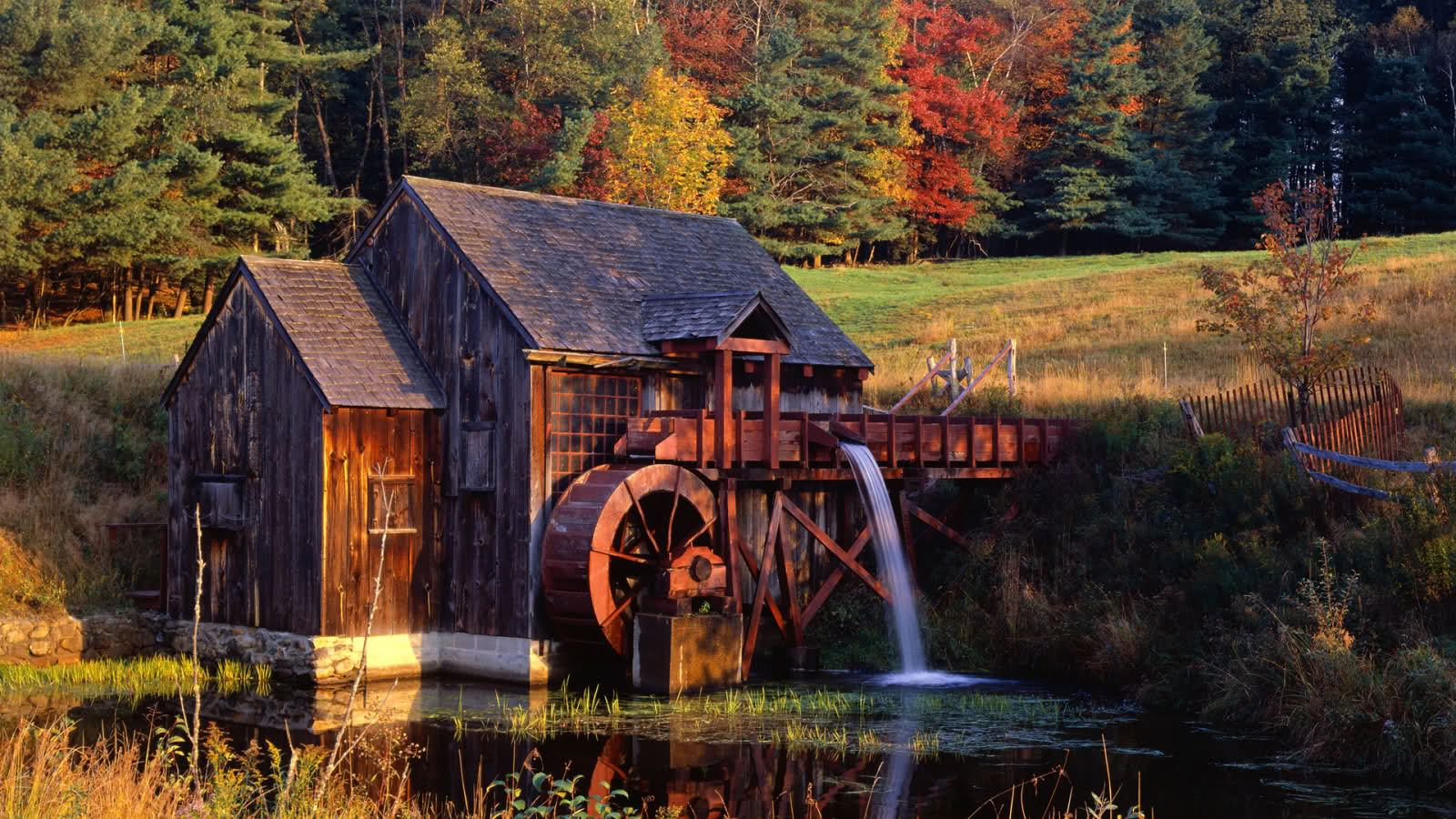 Fall Foliage Wallpaper Widescreen Watermill Wallpaper And Background Image 1600x900 Id