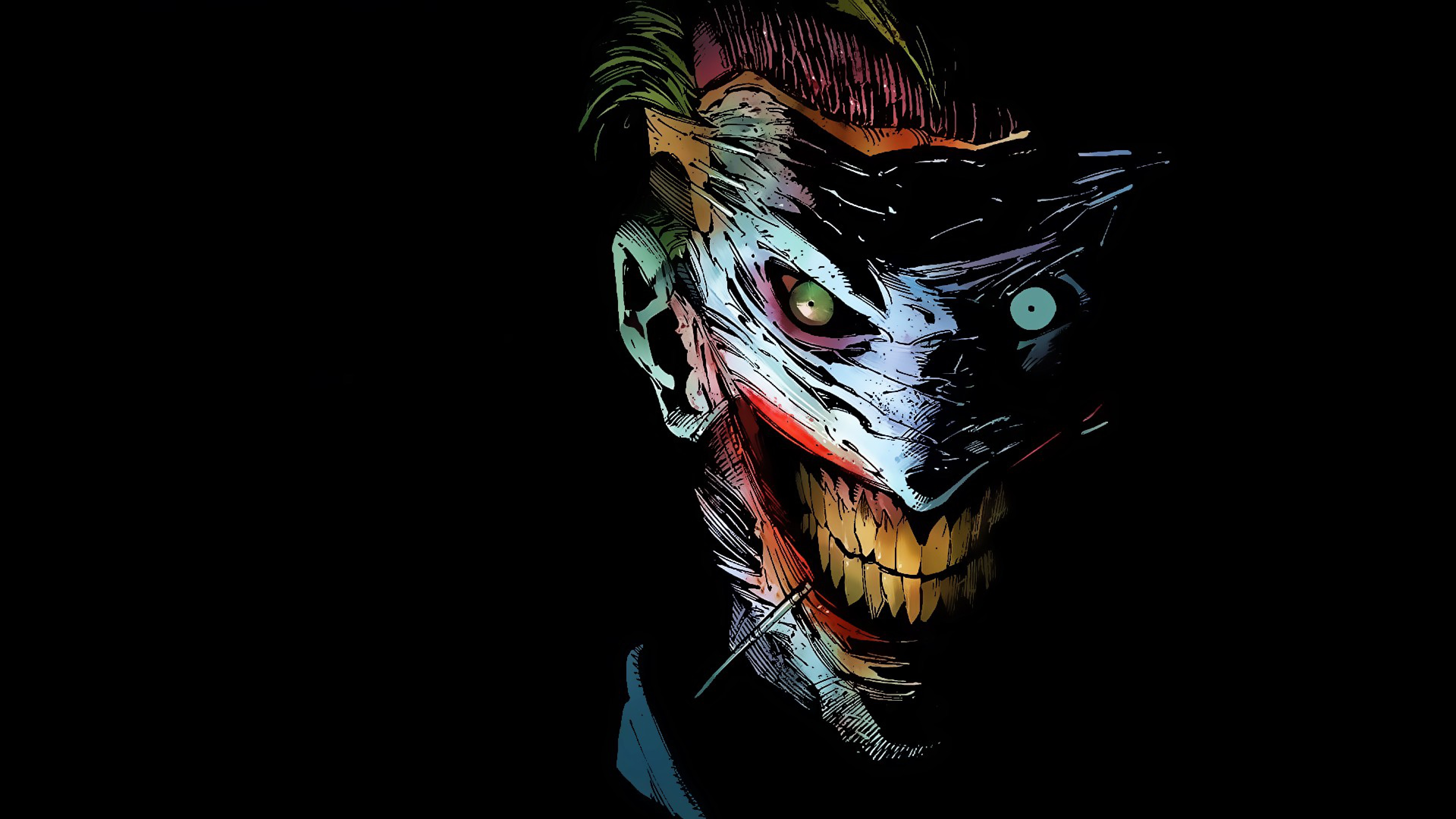 the jokers smile 4k ultra hd wallpaper | background image