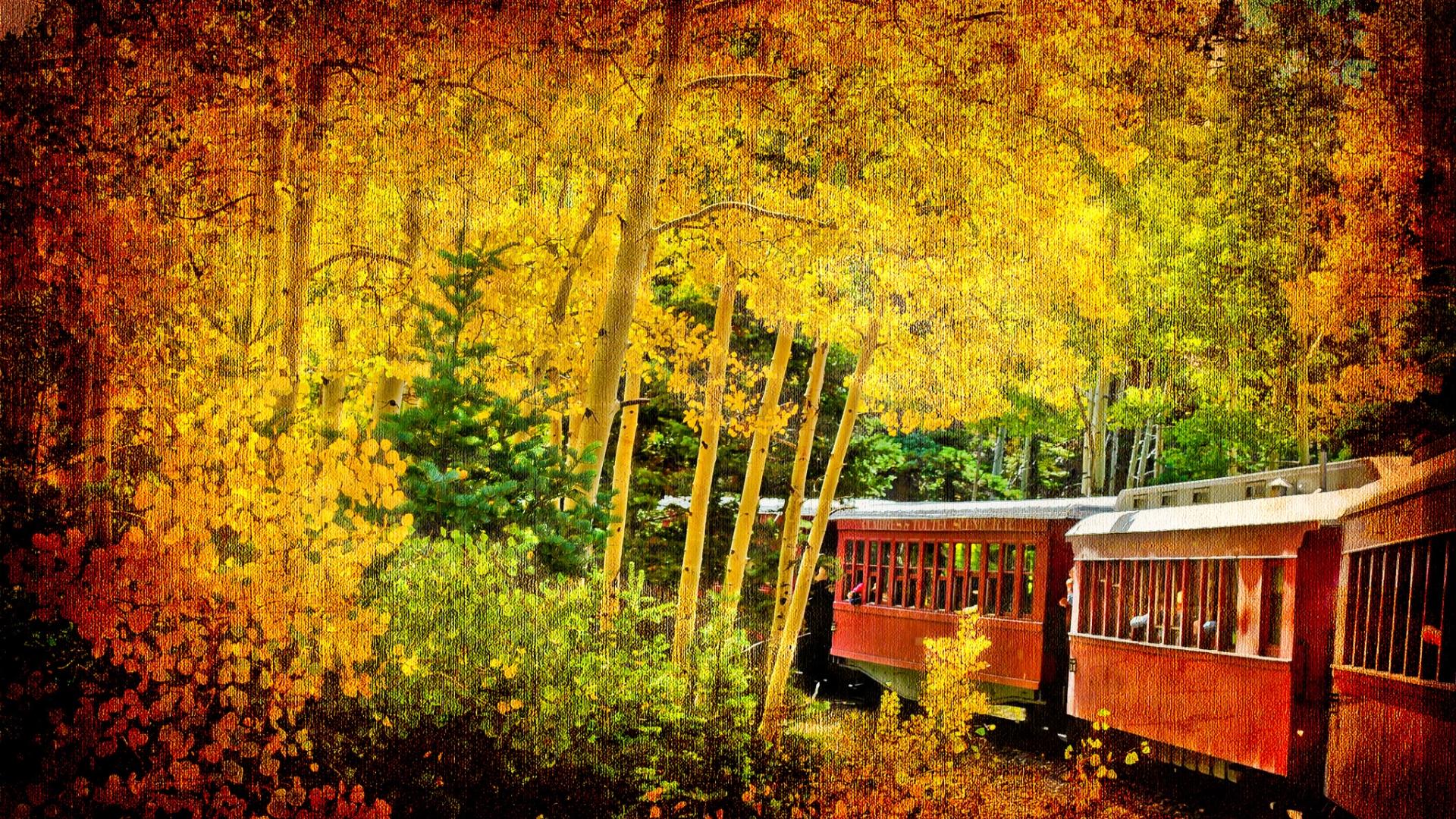 Fall Colors Wallpaper 1920x1080 Autumn Train Hd Wallpaper Background Image 1920x1080