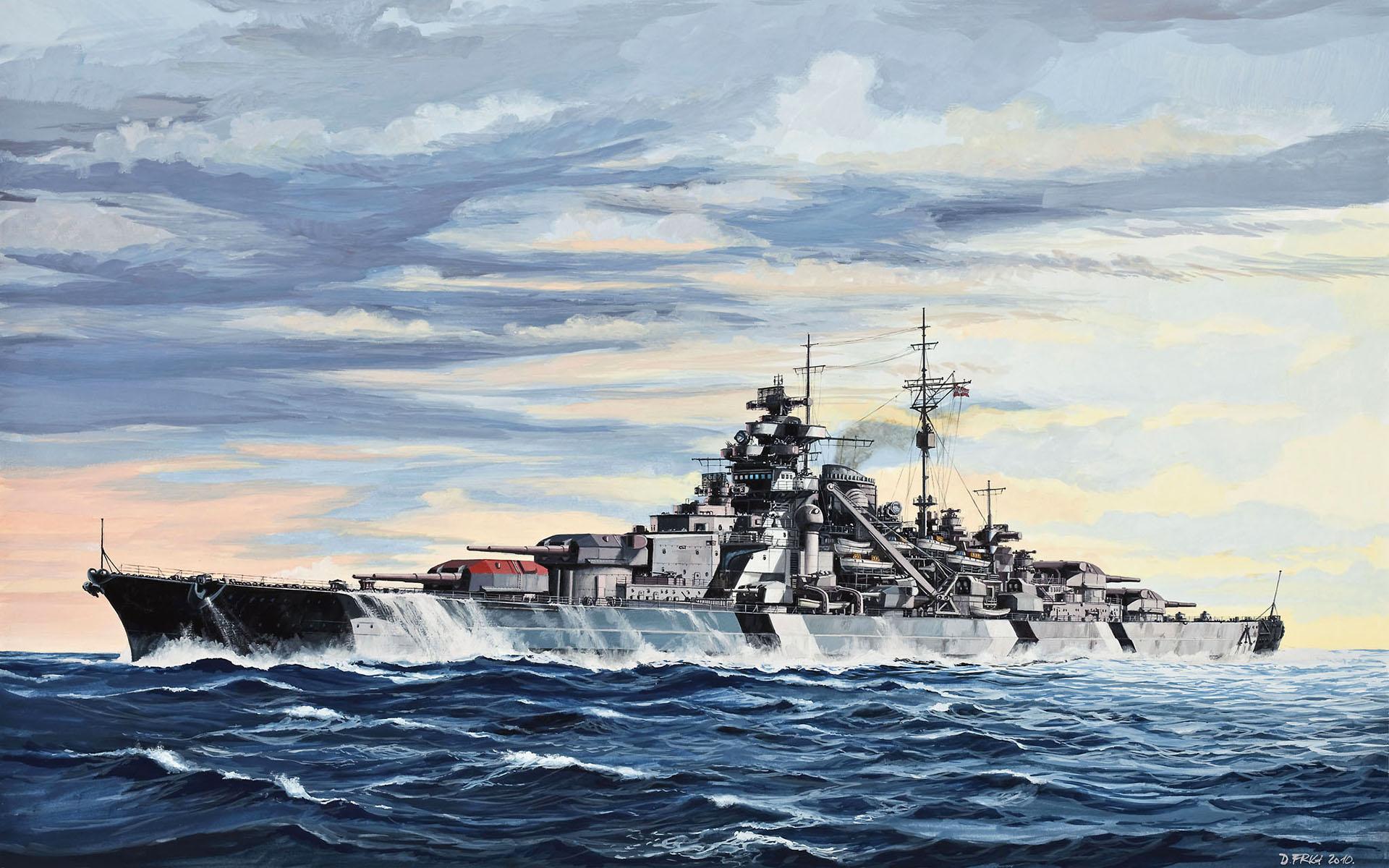 german battleship bismarck full hd wallpaper and background