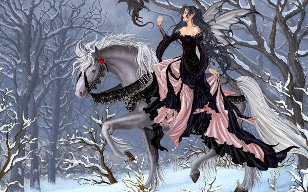 Fantasy Girl White Horse Fond 'cran Hd Arri-plan