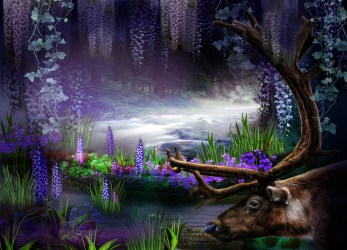 fantasy purple forest background deviantart roserika hd backgrounds deer artistic wallpapers preview wall premade