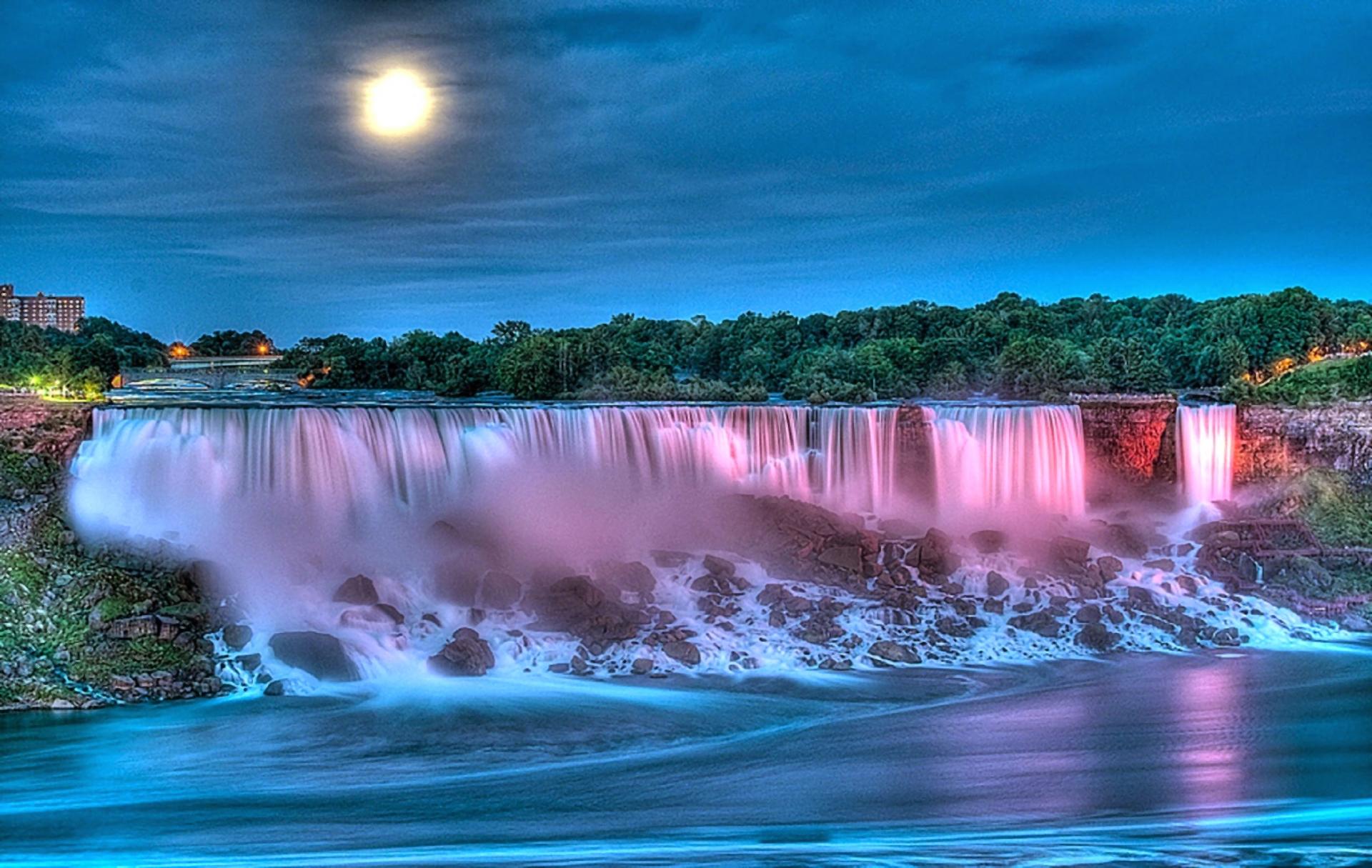 Niagara Falls At Night Wallpaper Hd Waterfall On Full Moon Night Hd Wallpaper Background